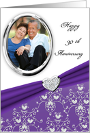 Elegant Purple Heart Damask 30th Wedding Anniversary Custom Photo Card