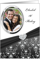 Elegant Black Diamond Heart Damask Wedding Invitation Custom Card