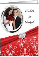 Elegant Red Diamond Heart Damask Wedding Invitation Custom Photo Card