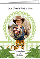 Party in the Jungle Tiger 1st Birthday Photo Invitation Card