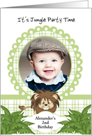 Party in the Jungle Lion 2nd Birthday Photo Invitation Card