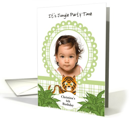 Party in the Jungle Tiger 4th Birthday Photo Invitation card (1047829)