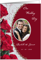 Red Rose Wedding Photo Invitation Card