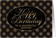 Black and Gold Art Nouveau Sponsor Birthday card