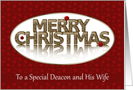 Merry Christmas, Deacon and Wife, Red and Gold card