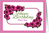Happy Birthday, Customizable, Pink Daisies card