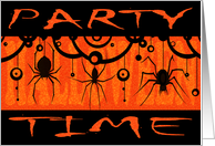 Halloween Party Time - Grunge Spider Black/Orange Invitation card