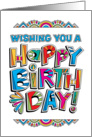 Colorful Custom Type, Happy Birthday card