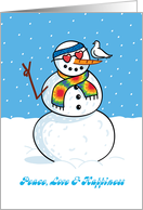 Hippy Snowman with Dove, Humorous Christmas card