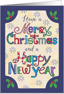 Merry Christmas, Happy New Year, Hand Lettering, Holly card