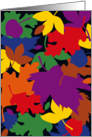 Colorful Graphic Autumn Leaves Falling Thanksgiving card