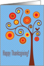 Stylized Autumn Tree and Bird Thanksgiving card