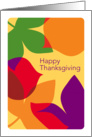 Modern Art Style Fall Leaves, Happy Thanksgiving card