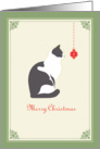 Beautiful Cat Staring at Christmas Ornament, Merry Christmas card