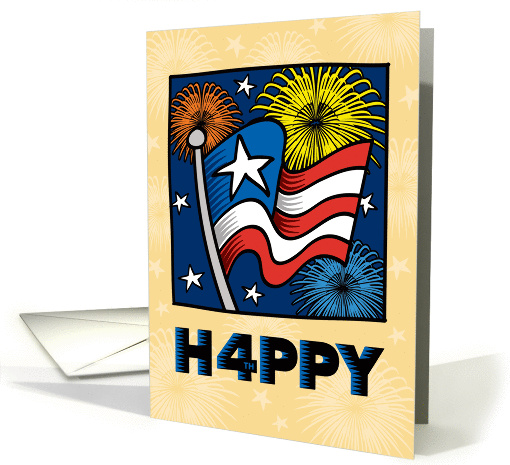 Happy 4th of July American Flag, Stars and Fireworks card (1290966)