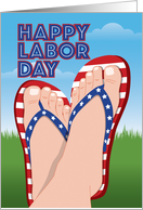 Stars and Stripes Flip Flops, Funny Labor Day card