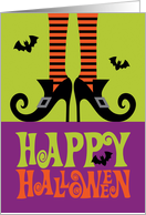 Witch in Curled Shoes with Bats, Happy Halloween card