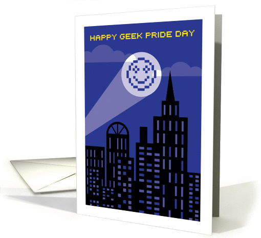 Happy Geek Pride Day, 8 Bit Smiley Face Searchlight card (1411710)