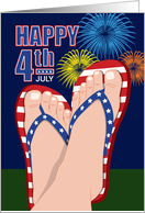 4th of July Fireworks, Patriotic Flip Flops card