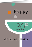 Happy 30th Anniversary Champagne Glass card