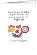 Birthday Hole Foods, Doughnut, Swiss Cheese, Bunt Cake, Candy card