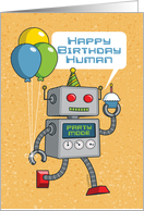 Robot with Balloons and Cupcake Happy Birthday card