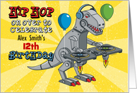 DJ Robot Dinosaur Hip Hop Birthday Party Invitation card