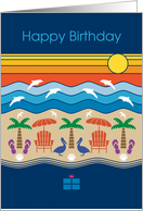 Birthday Ocean & Beach with Dolphins, Pelicans, Palm Trees, Seashells card