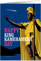 King Kamehameha Day with Statue and Comet card