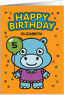 Customize Age and Name 5th Happy Birthday Little Hippo with Balloon card