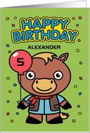 Customize Age and Name 5th Happy Birthday Little Horse with Balloon card