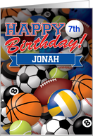 Customize Age and Name Happy Birthday Sports Balls card