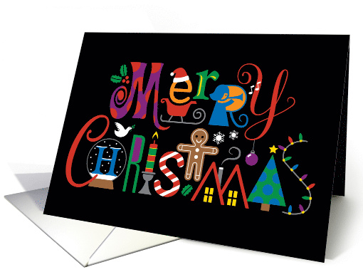Merry Christmas Type with Various Holiday Icons card (1652808)