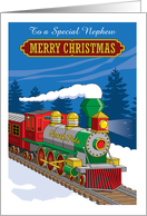 Merry Christmas Nephew Steam Train Customize Relation card