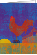 Rooster on Fence at Sunrise Thinking of You card