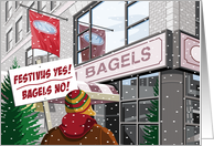 Snowy New York City Bagel Store Humorous Festivus card