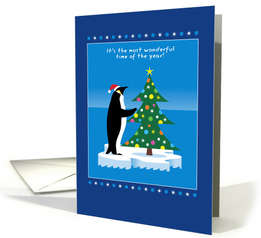 Merry Christmas, Penguin in Santa Hat, Decorating Tree card (947099)