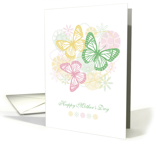 Happy Mother's Day, Butterflies over Abstract Flower Garden card
