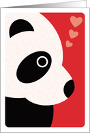 Modern Art Panda Bear with Swirl Pattern and Hearts, Valentine's Day card
