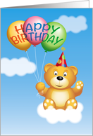 Cute Bear with Party Hat on a Cloud with Balloons, Happy Birthday card
