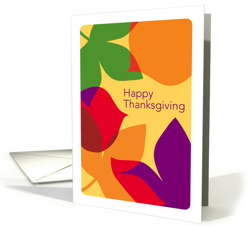 Modern Art Style Fall Leaves, Happy Thanksgiving card (990069)