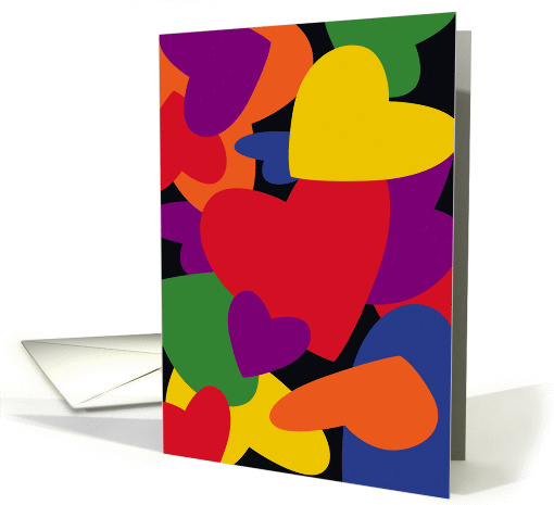 Pop Art, Colorful Love Hearts, Valentine's Day card (991381)