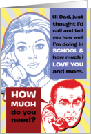 How Much do you Need Child Phone Call Humor Fathers Day Card