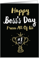 Happy Boss's Day From All with Work Themed Wishes For Your Employer card