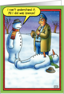 Snowman Sneeze Funny Card