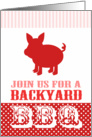 Backyard BBQ Invitation Cute Red and Pink Pig card
