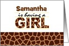 Brown Giraffe Print Girl Baby Shower Invitation card