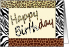 Happy Birthday Wild Animal Print card