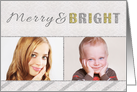 Merry and Bright Two Photo Christmas Card Silver and Gold card