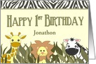 Happy 1st Birthday Cute Cartoon Jungle Animals Custom Name card